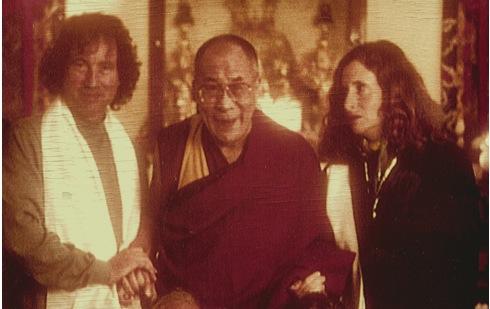 "His Holiness the Dalai Lama with Michael & Carole Wilson ""In Search of Kundun"" shoot, Dharamsala India"